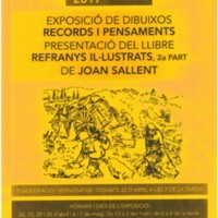 """Exposició de dibuixos, records i pensaments. Presentació de llibre """"Refranys il·lustrats, 2a. part"""" de Joan Sallent."""