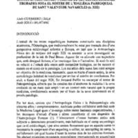 2000.Estudi antropològic-forense de les restes humanes trobades sota el sostre de l&#039;església<br /><br /> parroquial de Sant Valentí de Navarcles (s. XIX)<br /><br />